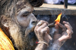 Indian Sadhu smoking weed